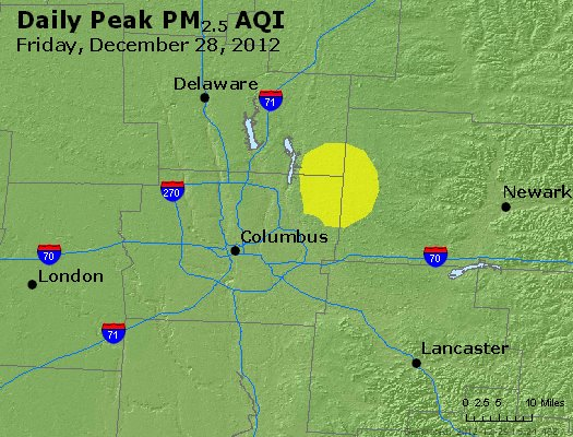 Peak Particles PM<sub>2.5</sub> (24-hour) - http://files.airnowtech.org/airnow/2012/20121228/peak_pm25_columbus_oh.jpg