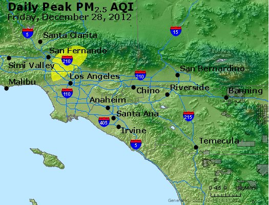 Peak Particles PM<sub>2.5</sub> (24-hour) - http://files.airnowtech.org/airnow/2012/20121228/peak_pm25_losangeles_ca.jpg