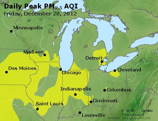 Peak Particles PM<sub>2.5</sub> (24-hour) - http://files.airnowtech.org/airnow/2012/20121228/peak_pm25_mi_in_oh.jpg