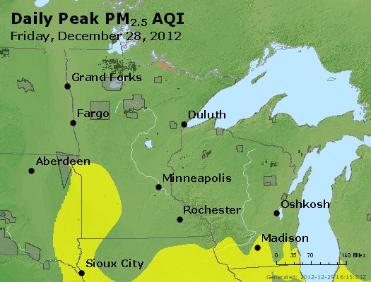 Peak Particles PM<sub>2.5</sub> (24-hour) - http://files.airnowtech.org/airnow/2012/20121228/peak_pm25_mn_wi.jpg