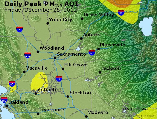 Peak Particles PM<sub>2.5</sub> (24-hour) - http://files.airnowtech.org/airnow/2012/20121228/peak_pm25_sacramento_ca.jpg