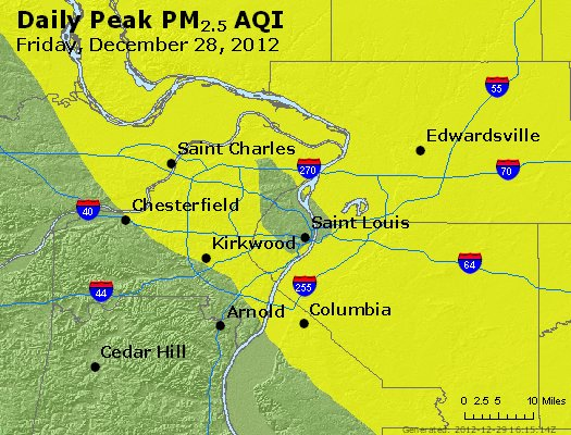 Peak Particles PM<sub>2.5</sub> (24-hour) - http://files.airnowtech.org/airnow/2012/20121228/peak_pm25_stlouis_mo.jpg