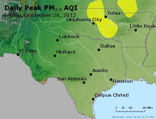 Peak Particles PM<sub>2.5</sub> (24-hour) - http://files.airnowtech.org/airnow/2012/20121228/peak_pm25_tx_ok.jpg