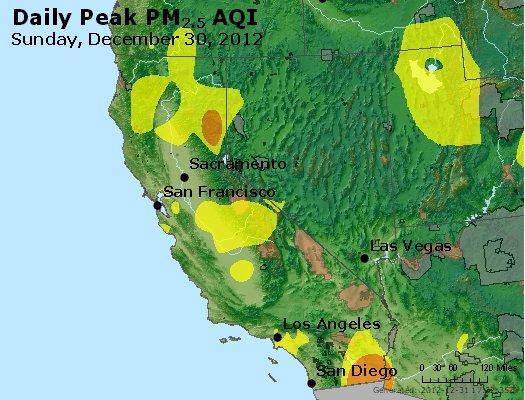Peak Particles PM<sub>2.5</sub> (24-hour) - http://files.airnowtech.org/airnow/2012/20121230/peak_pm25_ca_nv.jpg