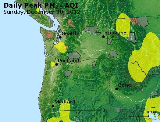Peak Particles PM<sub>2.5</sub> (24-hour) - http://files.airnowtech.org/airnow/2012/20121230/peak_pm25_wa_or.jpg