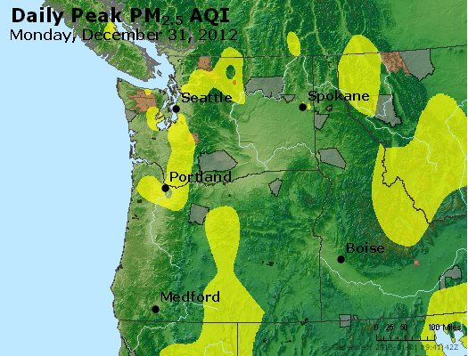 Peak Particles PM<sub>2.5</sub> (24-hour) - http://files.airnowtech.org/airnow/2012/20121231/peak_pm25_wa_or.jpg