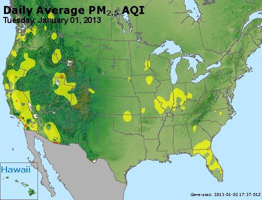 Peak Particles PM<sub>2.5</sub> (24-hour) - http://files.airnowtech.org/airnow/2013/20130101/peak_pm25_usa.jpg