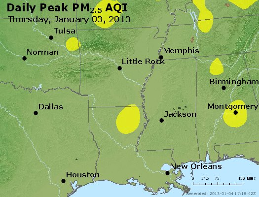 Peak Particles PM<sub>2.5</sub> (24-hour) - http://files.airnowtech.org/airnow/2013/20130103/peak_pm25_ar_la_ms.jpg