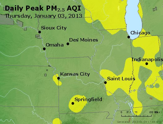 Peak Particles PM<sub>2.5</sub> (24-hour) - http://files.airnowtech.org/airnow/2013/20130103/peak_pm25_ia_il_mo.jpg