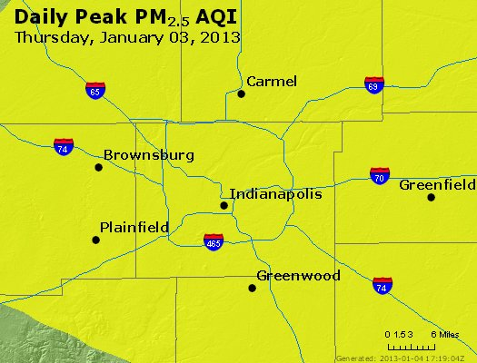 Peak Particles PM<sub>2.5</sub> (24-hour) - http://files.airnowtech.org/airnow/2013/20130103/peak_pm25_indianapolis_in.jpg