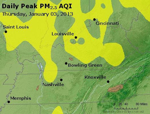 Peak Particles PM<sub>2.5</sub> (24-hour) - http://files.airnowtech.org/airnow/2013/20130103/peak_pm25_ky_tn.jpg