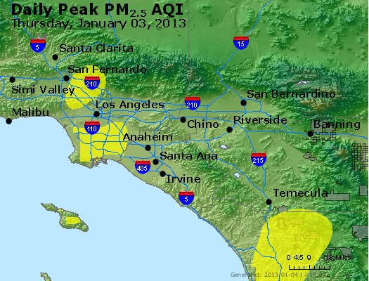 Peak Particles PM<sub>2.5</sub> (24-hour) - http://files.airnowtech.org/airnow/2013/20130103/peak_pm25_losangeles_ca.jpg