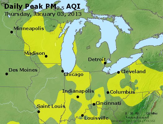Peak Particles PM<sub>2.5</sub> (24-hour) - http://files.airnowtech.org/airnow/2013/20130103/peak_pm25_mi_in_oh.jpg