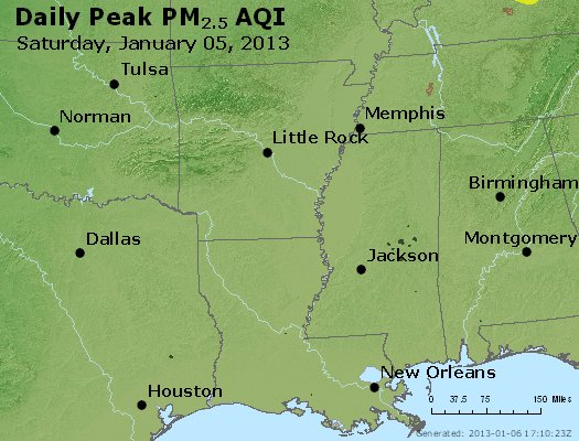 Peak Particles PM<sub>2.5</sub> (24-hour) - http://files.airnowtech.org/airnow/2013/20130105/peak_pm25_ar_la_ms.jpg