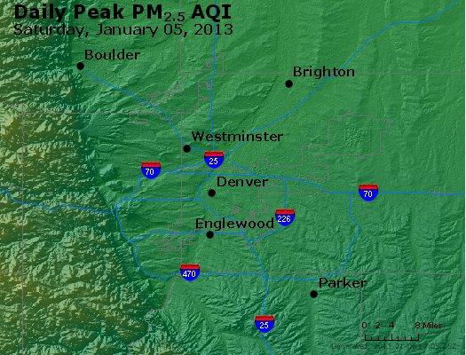 Peak Particles PM<sub>2.5</sub> (24-hour) - http://files.airnowtech.org/airnow/2013/20130105/peak_pm25_denver_co.jpg