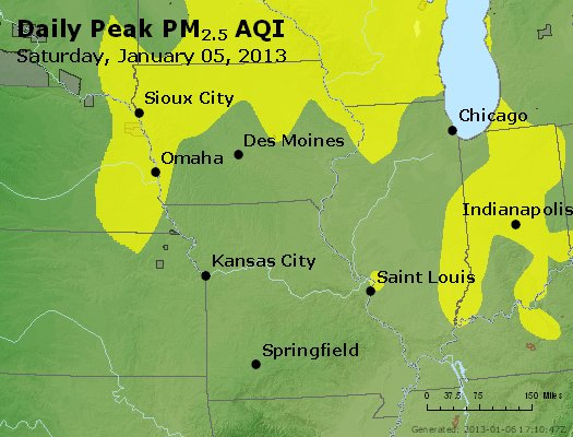 Peak Particles PM<sub>2.5</sub> (24-hour) - http://files.airnowtech.org/airnow/2013/20130105/peak_pm25_ia_il_mo.jpg