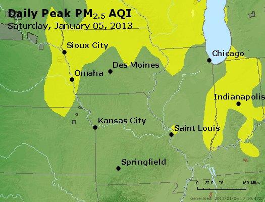 Peak Particles PM<sub>2.5</sub> (24-hour) - http://files.airnowtech.org/airnow/2013/20130105/peak_pm25_ia_il_mo.jpg