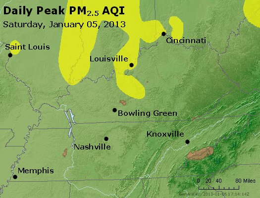 Peak Particles PM<sub>2.5</sub> (24-hour) - http://files.airnowtech.org/airnow/2013/20130105/peak_pm25_ky_tn.jpg
