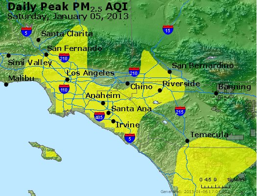 Peak Particles PM<sub>2.5</sub> (24-hour) - http://files.airnowtech.org/airnow/2013/20130105/peak_pm25_losangeles_ca.jpg