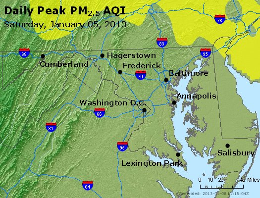 Peak Particles PM<sub>2.5</sub> (24-hour) - http://files.airnowtech.org/airnow/2013/20130105/peak_pm25_maryland.jpg