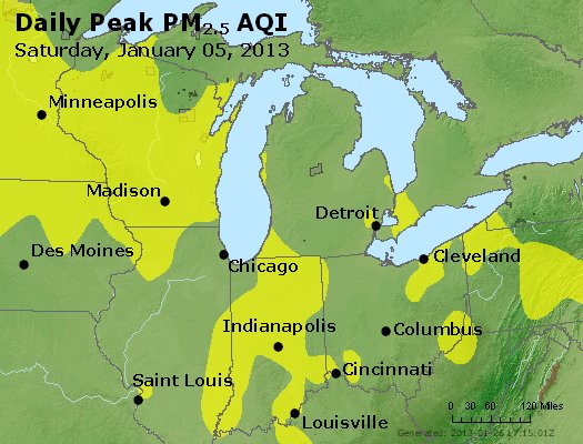 Peak Particles PM<sub>2.5</sub> (24-hour) - http://files.airnowtech.org/airnow/2013/20130105/peak_pm25_mi_in_oh.jpg