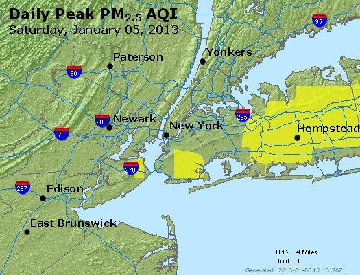 Peak Particles PM<sub>2.5</sub> (24-hour) - http://files.airnowtech.org/airnow/2013/20130105/peak_pm25_newyork_ny.jpg