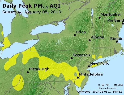 Peak Particles PM<sub>2.5</sub> (24-hour) - http://files.airnowtech.org/airnow/2013/20130105/peak_pm25_ny_pa_nj.jpg