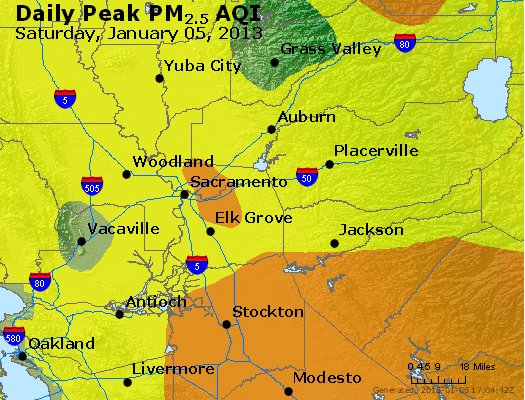 Peak Particles PM<sub>2.5</sub> (24-hour) - http://files.airnowtech.org/airnow/2013/20130105/peak_pm25_sacramento_ca.jpg
