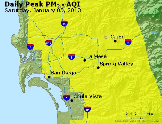 Peak Particles PM<sub>2.5</sub> (24-hour) - http://files.airnowtech.org/airnow/2013/20130105/peak_pm25_sandiego_ca.jpg