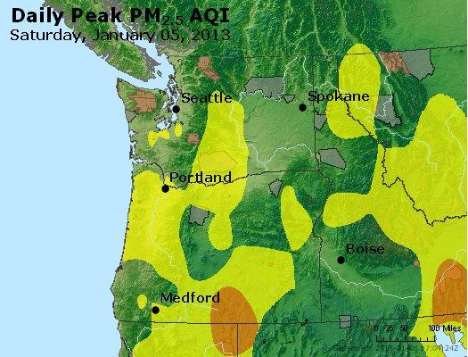 Peak Particles PM<sub>2.5</sub> (24-hour) - http://files.airnowtech.org/airnow/2013/20130105/peak_pm25_wa_or.jpg