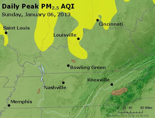Peak Particles PM<sub>2.5</sub> (24-hour) - http://files.airnowtech.org/airnow/2013/20130106/peak_pm25_ky_tn.jpg