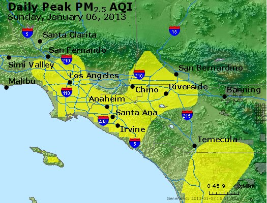 Peak Particles PM<sub>2.5</sub> (24-hour) - http://files.airnowtech.org/airnow/2013/20130106/peak_pm25_losangeles_ca.jpg