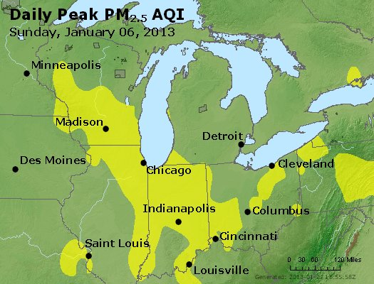Peak Particles PM<sub>2.5</sub> (24-hour) - http://files.airnowtech.org/airnow/2013/20130106/peak_pm25_mi_in_oh.jpg