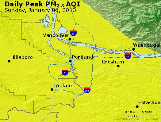 Peak Particles PM<sub>2.5</sub> (24-hour) - http://files.airnowtech.org/airnow/2013/20130106/peak_pm25_portland_or.jpg