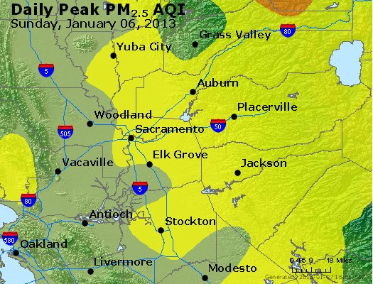 Peak Particles PM<sub>2.5</sub> (24-hour) - http://files.airnowtech.org/airnow/2013/20130106/peak_pm25_sacramento_ca.jpg