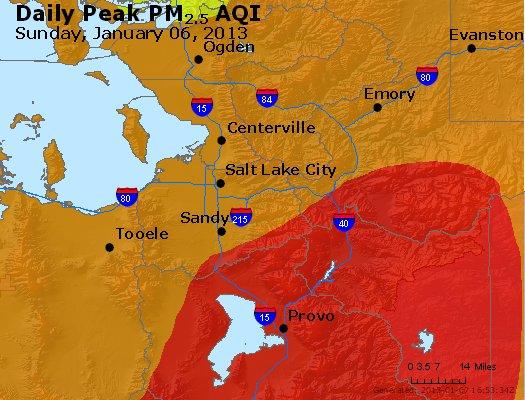 Peak Particles PM<sub>2.5</sub> (24-hour) - http://files.airnowtech.org/airnow/2013/20130106/peak_pm25_saltlakecity_ut.jpg