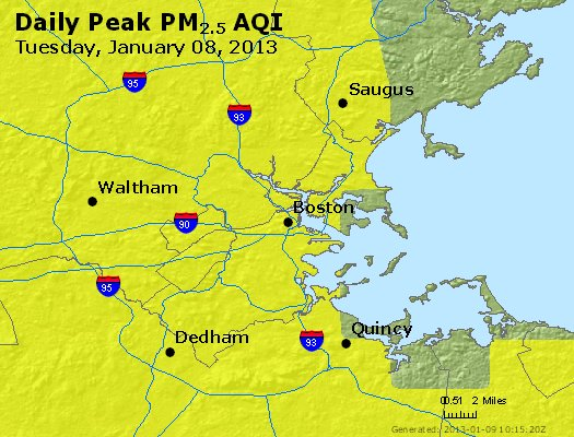 Peak Particles PM<sub>2.5</sub> (24-hour) - http://files.airnowtech.org/airnow/2013/20130108/peak_pm25_boston_ma.jpg