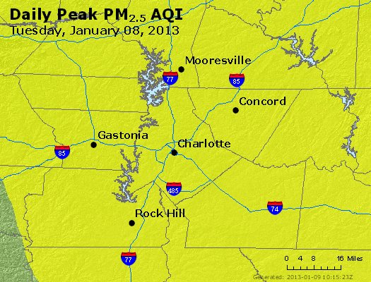 Peak Particles PM<sub>2.5</sub> (24-hour) - http://files.airnowtech.org/airnow/2013/20130108/peak_pm25_charlotte_nc.jpg