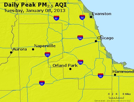 Peak Particles PM<sub>2.5</sub> (24-hour) - http://files.airnowtech.org/airnow/2013/20130108/peak_pm25_chicago_il.jpg