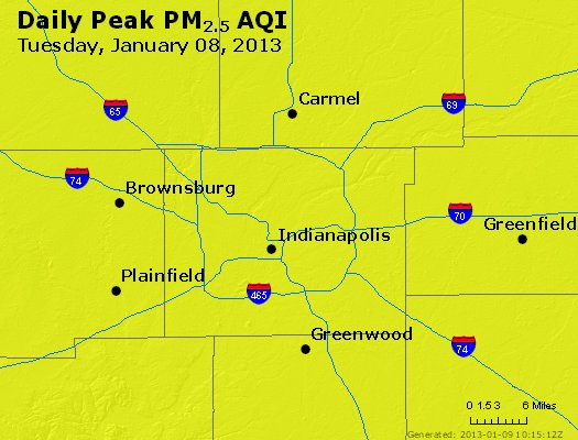Peak Particles PM<sub>2.5</sub> (24-hour) - http://files.airnowtech.org/airnow/2013/20130108/peak_pm25_indianapolis_in.jpg