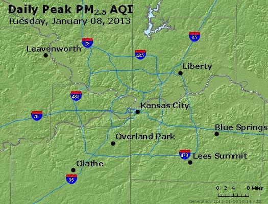 Peak Particles PM<sub>2.5</sub> (24-hour) - http://files.airnowtech.org/airnow/2013/20130108/peak_pm25_kansascity_mo.jpg