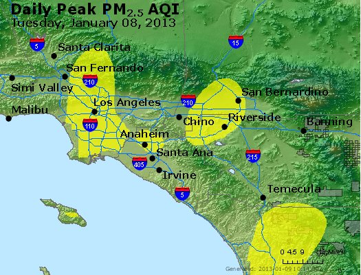 Peak Particles PM<sub>2.5</sub> (24-hour) - http://files.airnowtech.org/airnow/2013/20130108/peak_pm25_losangeles_ca.jpg