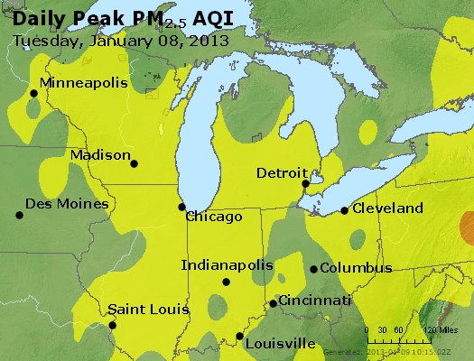 Peak Particles PM<sub>2.5</sub> (24-hour) - http://files.airnowtech.org/airnow/2013/20130108/peak_pm25_mi_in_oh.jpg