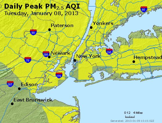 Peak Particles PM<sub>2.5</sub> (24-hour) - http://files.airnowtech.org/airnow/2013/20130108/peak_pm25_newyork_ny.jpg