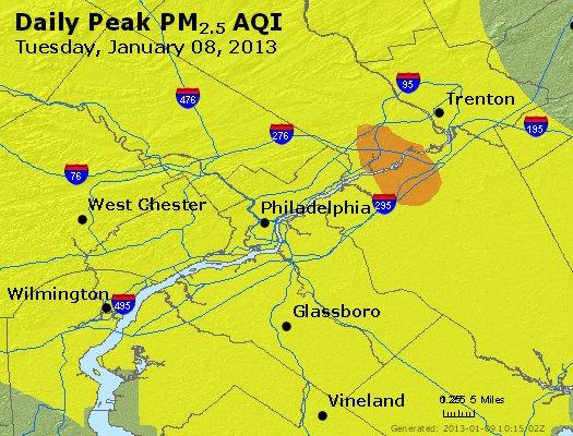 Peak Particles PM<sub>2.5</sub> (24-hour) - http://files.airnowtech.org/airnow/2013/20130108/peak_pm25_philadelphia_pa.jpg