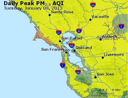 Peak Particles PM<sub>2.5</sub> (24-hour) - http://files.airnowtech.org/airnow/2013/20130108/peak_pm25_sanfrancisco_ca.jpg