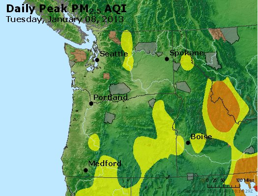 Peak Particles PM<sub>2.5</sub> (24-hour) - http://files.airnowtech.org/airnow/2013/20130108/peak_pm25_wa_or.jpg