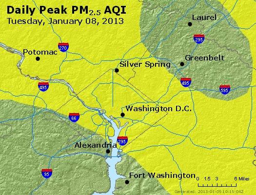 Peak Particles PM<sub>2.5</sub> (24-hour) - http://files.airnowtech.org/airnow/2013/20130108/peak_pm25_washington_dc.jpg