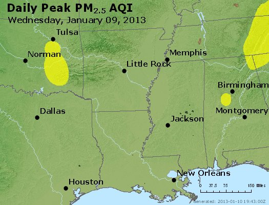 Peak Particles PM<sub>2.5</sub> (24-hour) - http://files.airnowtech.org/airnow/2013/20130109/peak_pm25_ar_la_ms.jpg