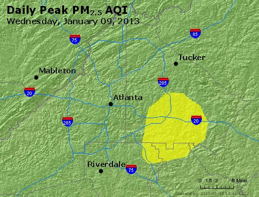 Peak Particles PM<sub>2.5</sub> (24-hour) - http://files.airnowtech.org/airnow/2013/20130109/peak_pm25_atlanta_ga.jpg